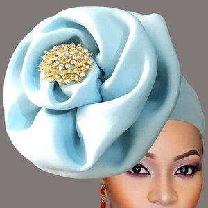 Sky Blue Jeweled Ready to Wear Head Gear